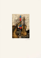 "Bild ""Violine mit rot-blauem Turm"" (1989), ungerahmt"