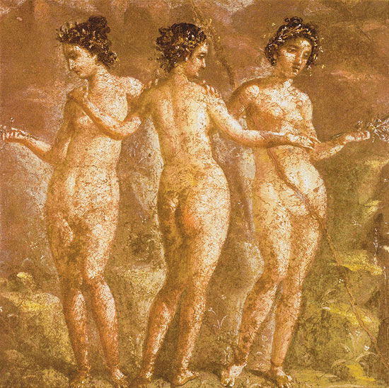 """Mural painting from Pompeii: Painting """"The Three Graces"""""""