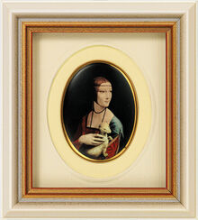 "Miniatur-Porzellanbild ""Dame mit Hermelin"" (1488-90), gerahmt"