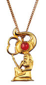 "Ancient Egyptian zodiac sign of ""Scorpio"" (24.10.-11.22.) Necklace with a lucky stone,"