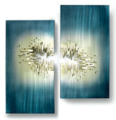"Wall sculpture ""From the Depth"" in 2-piece set"