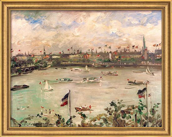 Picture 'Kaisertag in Hamburg, Alster' (1911) in museum framing
