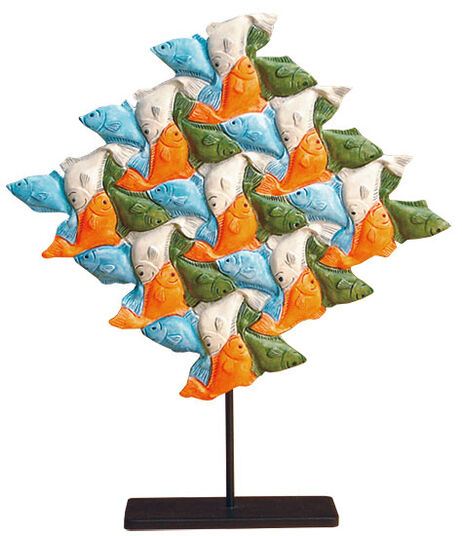 M. C. Escher: Sculpture 'Fish' (1938), hand-painted art casting