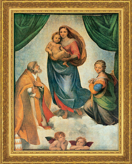 "Raffaelo Santi: Bild ""Sixtinische Madonna"" (um 1513), gerahmt"