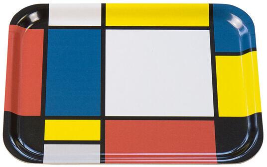 """Piet Mondrian: Holztablett """"Komposition mit Gelb, Rot, Schwarz, Blau und Grau"""" (1921)"""