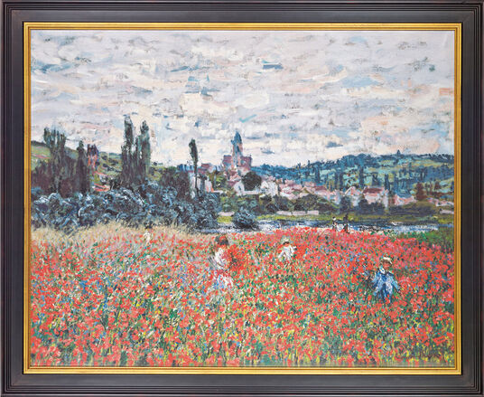 Claude Monet: Painting 'Poppy Field Near Vétheuil' (around 1879), framed