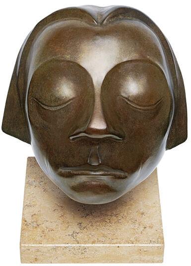 """Ernst Barlach: Skulptur """"Kopf des Güstrower Ehrenmals"""", Reduktion in Bronze"""