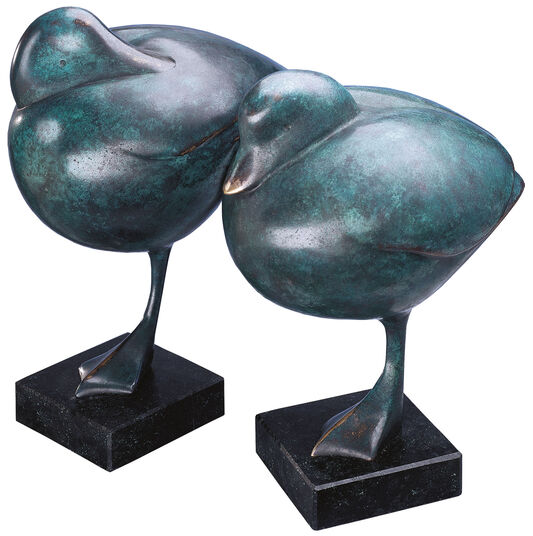 "Evert den Hartog: ""I duck"" (looking forward), green patinated"