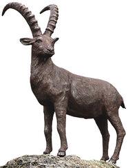 """Garden sculpture """"Ibex"""", bronze"""