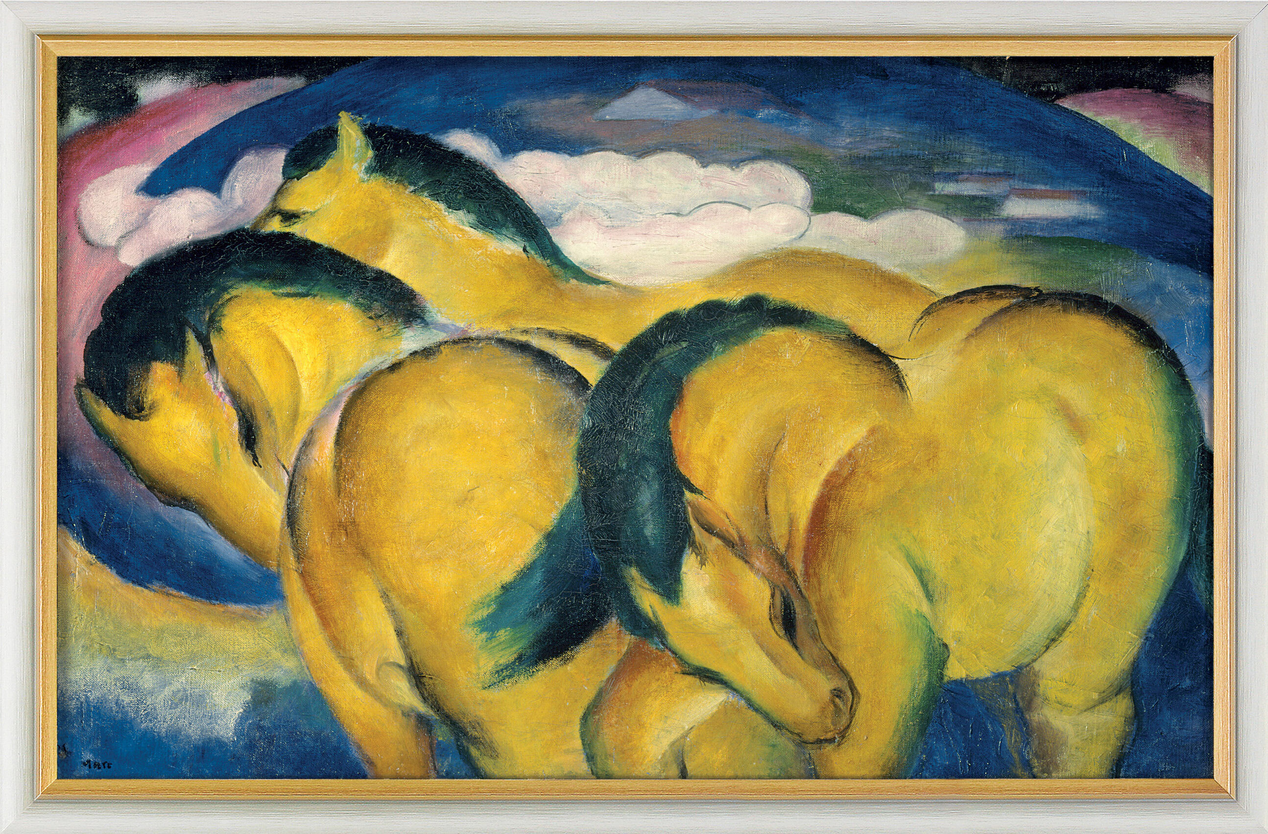 franz marc bild die kleinen gelben pferde 1912 gerahmt ars mundi. Black Bedroom Furniture Sets. Home Design Ideas
