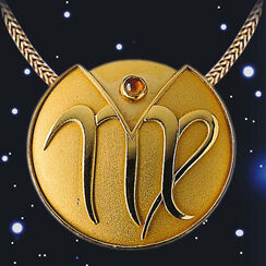 "Zodiac Necklace ""Virgo"" (24.08-23.09) With Lucky Stone Citrine"