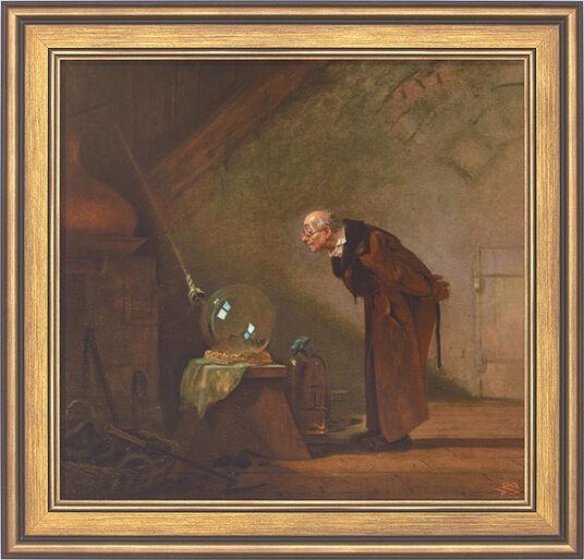 """Carl Spitzweg: Picture """"The Alchemist"""" (1860) in frame"""