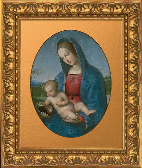 "Raffaelo Santi: Painting ""Madonna with Child"", (called. ""Madonna Conestabile""), about 1502-03"