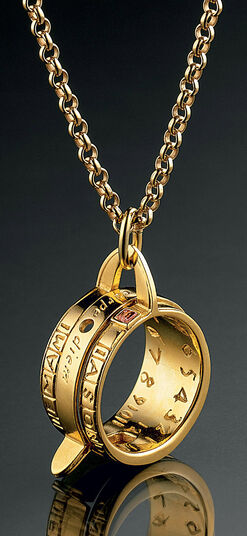 Christiane Wendt: Ring sundial necklace, 925 Sterling silver gilded