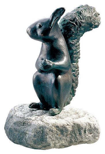 """Garden Sculpture """"Squirrel"""", copper on stone"""