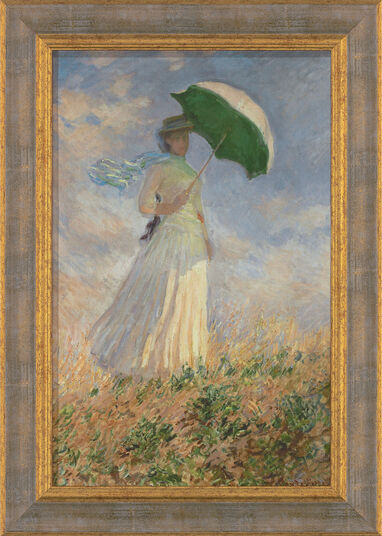 "Claude Monet: Painting ""Woman with a Parasol "" (1886) in frame"