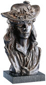 """Sculpture """"The girl with the Rose on her hat"""", bronze artedition"""