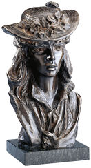 "Sculpture ""The girl with the Rose on her hat"", bronze artedition"
