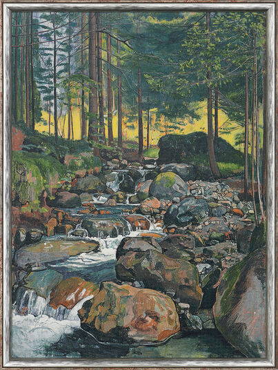 "Ferdinand Hodler: Picture ""Forest with a mountain stream"" (1902) in frame"