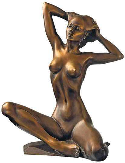 "Roman Johann Strobl: Sculpture ""Sitting Act"", version in bronze"