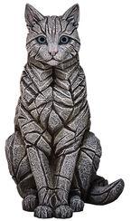 """Skulptur """"Weiße Katze"""", Kunststein handbemalt"""