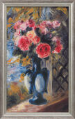 "Painting ""Bouquet of Roses in Blue Vase"" (1892) in a frame"