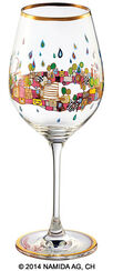 "(PM XIX/4) Wine glass ""BEAUTY IS A PANACEA - Gold - red wine"""