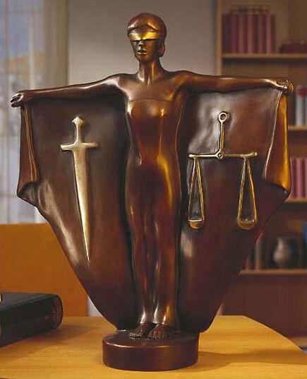 """Peter Hohberger: Skulptur """"Justitia"""", Version in Kunstbronze"""