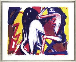 """Bild """"Fisch, Frau und Vogel"""" (1992), gerahmt"""