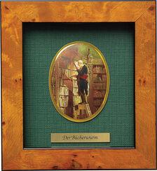 "Miniatur-Porzellanbild ""Der Bücherwurm"" (1852), gerahmt"