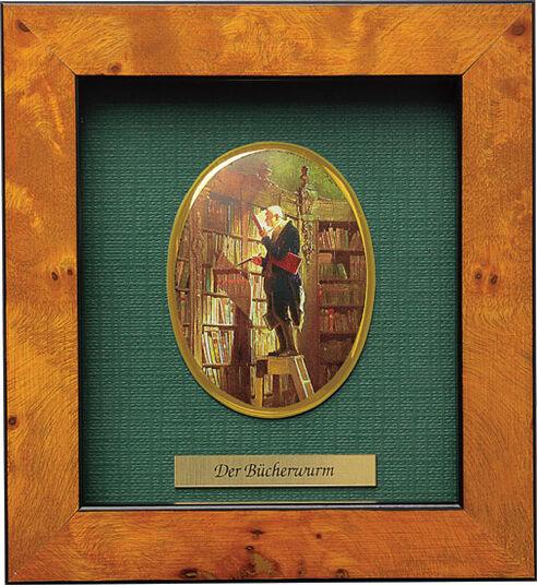 "Carl Spitzweg: Miniatur-Porzellanbild ""Der Bücherwurm"" (1852), gerahmt"