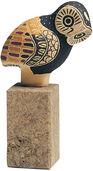 """Keramikfigur """"Griechische Eule"""" auf Steinsockel, handbemalt"""
