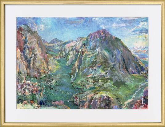 "Oskar Kokoschka: Picture ""Delphi"" (1961) in a frame"