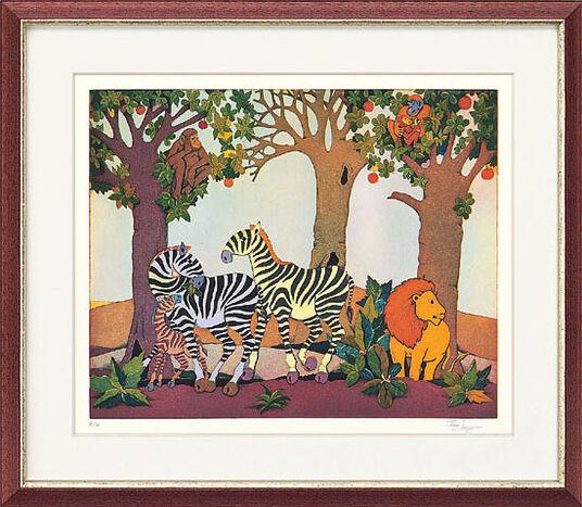 "Francis Lubas Imanjama: Bild ""Zebrafamilie"" (2004), ungerahmt"