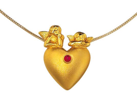 "Christiane Wendt: Gold plated ""Heart with Raphael Angels"", 925 Sterling Silver"
