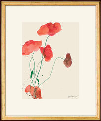 """Red Poppy with Green Caulis"", 1999, framed"