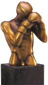 "Sculpture ""The Boxer"" (1996), bronze on stone pedestal"