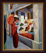 "Painting ""Woman with Umbrella in Front of a Hat Shop"" (1914) in museum framing"