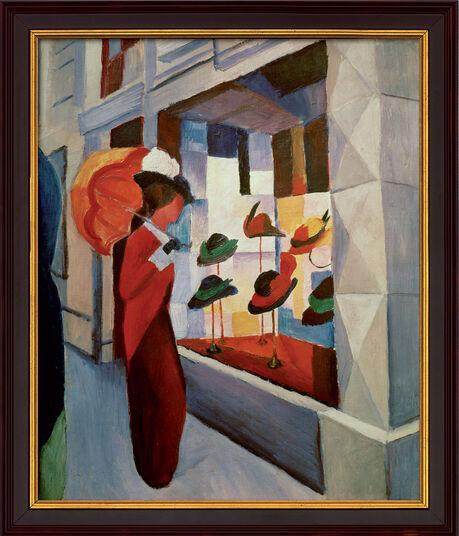 """August Macke: Bild """"Frau mit Sonnenschirm vor einem Hutladen"""" (1914), gerahmt"""