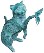 Sculpture 'Cat with Butterfly', bronze