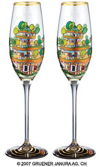 "(699A) Sparkling wine glass ""The Houses Are Hanging Underneath the Meadows"", 2 part set"