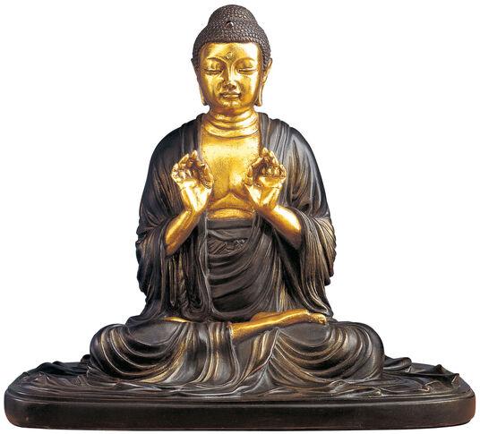 "Buddha sculpture ""Ami da Nyorai"", polymer bronze partly gold-plated"