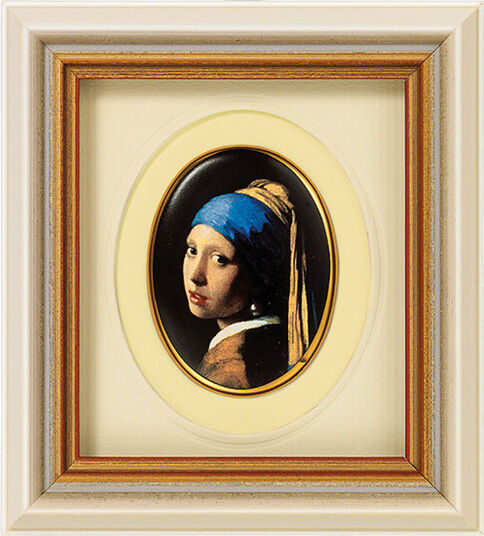 Jan Vermeer van Delft: Miniature porcelain painting 'Girl with a Pearl Earring', 1665