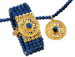 "Jewelry set ""Constantinople"" with lapis lazuli, 925 sterling silver, gold-plated"