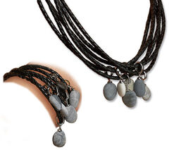 Jewelry Set from Braided Leather Straps