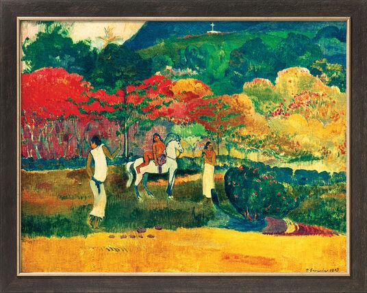 """Paul Gauguin: Bild """"Frau mit weißem Pferd"""" (1903), gerahmt"""