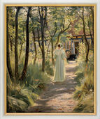 "Painting ""Marie, the artist's wife, on a Garden Path"" (1895) in museum frame"