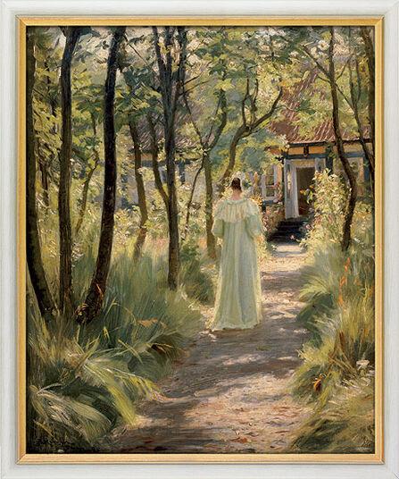 """Peder Severin Kroyer: Bild """"Marie, die Frau des Künstlers, auf einem Gartenweg"""" (1895), gerahmt"""