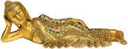 """Skulptur """"Liegender Buddha"""", Holz vergoldet"""