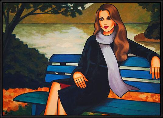 "Ekaterina Moré: Bild ""Im Park"" (2015) (Original / Unikat), gerahmt"